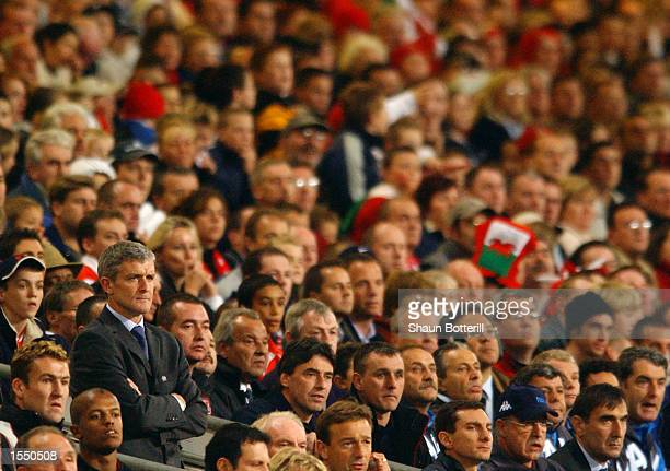 Wales Manager Mark Hughes looks on during the 2004 European Champioship Group 9 Qualifying match between Wales and Italy on October 16 2002 played at...