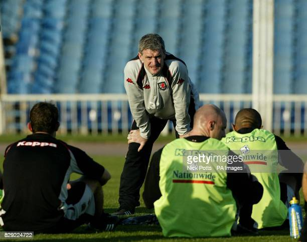Wales' manager Mark Hughes watches over a team training session at the Tofiq National stadium Baku Azerbaijan ahead of Wednesday's European...