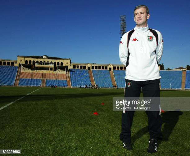 Wales' manager Mark Hughes watches over during a team training session at the Tofiq National stadium Baku Azerbaijan ahead of Wednesday's European...