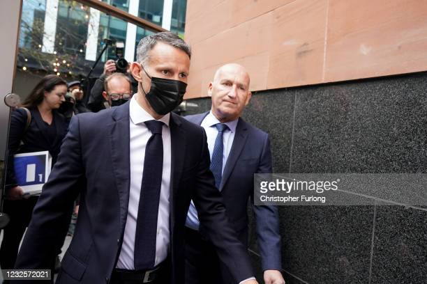 Wales manager Ryan Giggs arrives at Manchester Magistrates' Court to face charges of assault and coercive control on April 28, 2021 in Manchester,...
