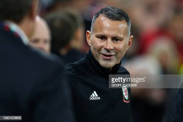 Wales' manager Ryan Giggs arrives for the UEFA Nations League Group B football match between Wales and Denmark at Cardiff City Stadium in Cardiff on...