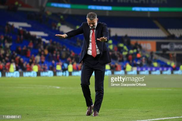 Wales manager Ryan Giggs bows to the fans after the UEFA Euro 2020 Qualifier between Wales and Hungary at Cardiff City Stadium on November 19 2019 in...