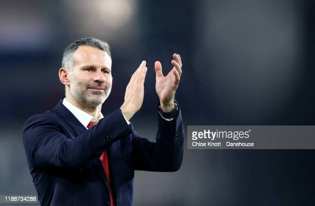 Wales Manager Ryan Giggs celebrates after winning the UEFA Euro 2020 qualifier between Wales and Hungary so at Cardiff City Stadium on November 19,...