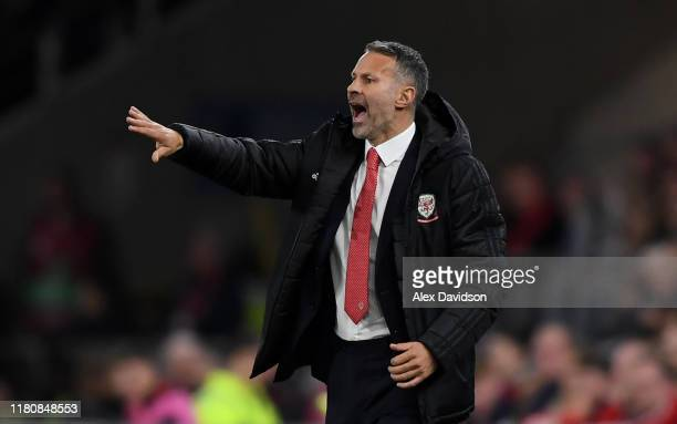 Wales manager Ryan Giggs directs his team during the UEFA Euro 2020 qualifier between Wales and Croatia at Cardiff City Stadium on October 13 2019 in...