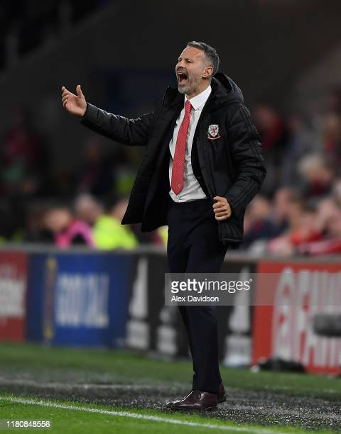 Wales manager Ryan Giggs directs his team during the UEFA Euro 2020 qualifier between Wales and Croatia at Cardiff City Stadium on October 13, 2019...