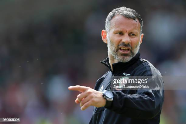 Wales manager Ryan Giggs gestures during an open training session at the Racecourse Ground on May 21 2018 in Wrexham Wales
