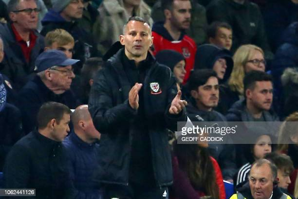 Wales' manager Ryan Giggs gestures on the touchline during the UEFA Nations League Group B football match between Wales and Denmark at Cardiff City...