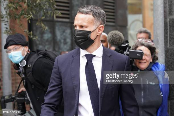 Wales manager Ryan Giggs leaves Manchester Magistrates' Court on April 28, 2021 in Manchester, England. Giggs, Manager of the Welsh National Football...