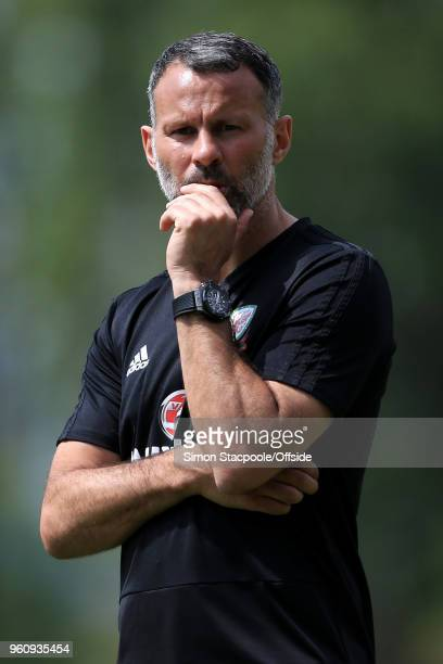 Wales manager Ryan Giggs looks on during an open training session at the Racecourse Ground on May 21 2018 in Wrexham Wales
