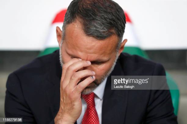 Wales manager Ryan Giggs looks on prior to the UEFA Euro 2020 Qualifier between Hungary and Wales at Groupama Arena on June 11 2019 in Budapest...