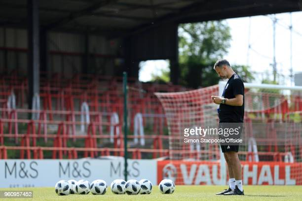 Wales manager Ryan Giggs oversees an open training session at the Racecourse Ground on May 21 2018 in Wrexham Wales