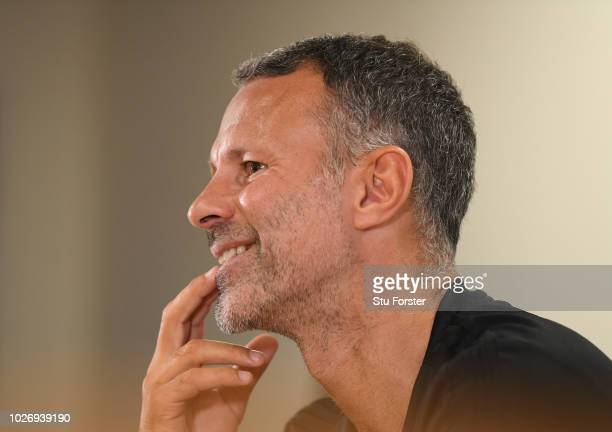 Wales manager Ryan Giggs pictured during the Wales press conference ahead of their UEFA Group B4 match against Republic of Ireland at Cardiff City...
