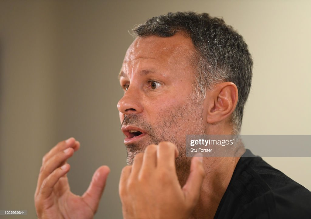 Wales manager Ryan Giggs pictured during the Wales press conference ahead of their UEFA Group B4 match against Republic of Ireland at Cardiff City Stadium on September 5, 2018 in Cardiff, Wales.