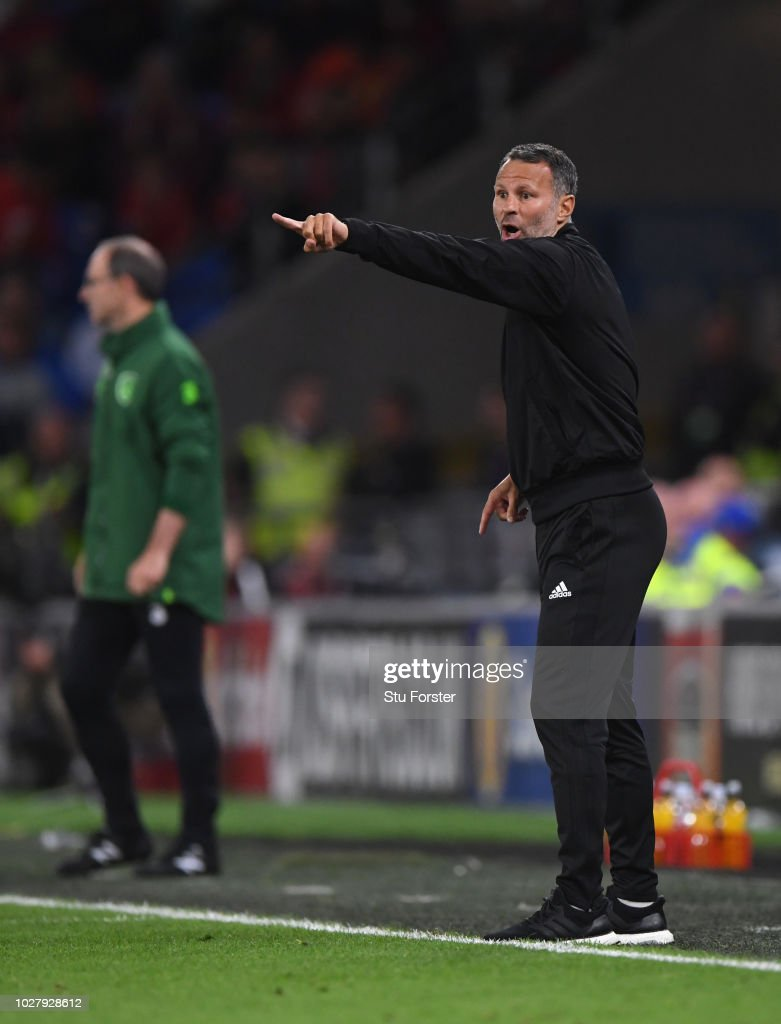 Wales manager Ryan Giggs reacts during the UEFA Nations League B group four match between Wales and Irland at Cardiff City Stadium on September 6, 2018 in Cardiff, United Kingdom.