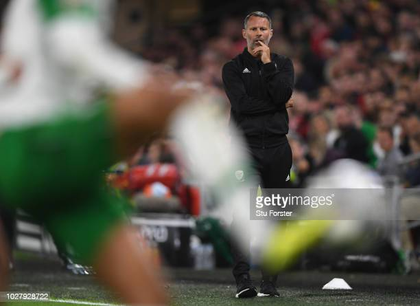 Wales manager Ryan Giggs reacts during the UEFA Nations League B group four match between Wales and Irland at Cardiff City Stadium on September 6...