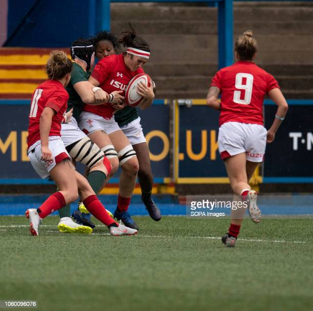 Wales Mel Clay in action during Wales Women v South Africa Women Autumn Internationals at Cardiff Arms Park Cardiff United Kingdom. Wales defeated S....