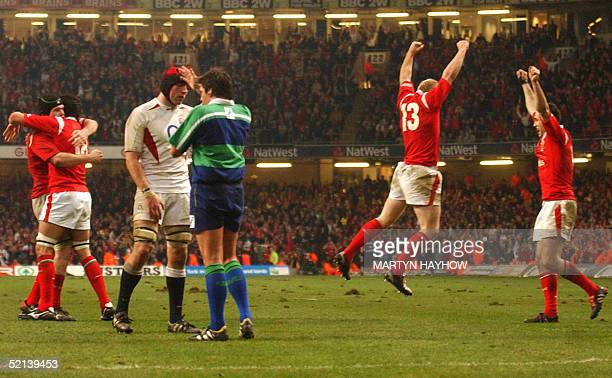 Wales' Michael Owen Jonathan Thomas and Tom Shanklin jubilate as the whistle blows in the RBS 6 Nations Rugby Championship match against England 05...