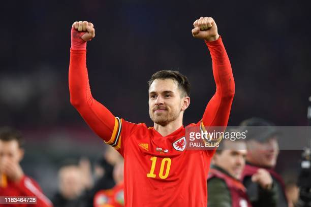 Wales' midfielder Aaron Ramsey reacts at the final whistle during the Group E Euro 2020 football qualification match between Wales and HUngary at...