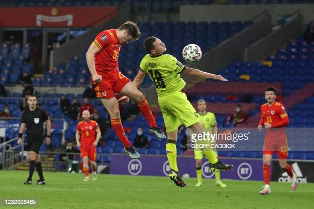 Wales' midfielder Daniel James scores the opening goal during the FIFA World Cup Qatar 2022 qualification football match between Wales and Czech...