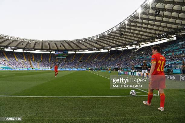 Wales' midfielder Daniel James stands over a corner during the UEFA EURO 2020 Group A football match between Italy and Wales at the Olympic Stadium...
