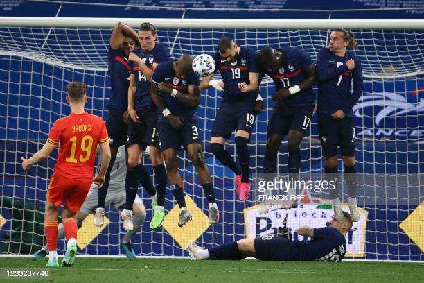 Wales' midfielder David Brooks takes a free-kick during the friendly football match between France and Wales at the Allianz Riviera Stadium in Nice,...