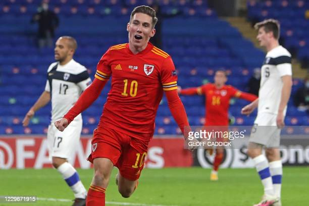 Wales' midfielder Harry Wilson celebrates after scoring the opening goal of the UEFA Nations League group B4 football match between Wales and Finland...