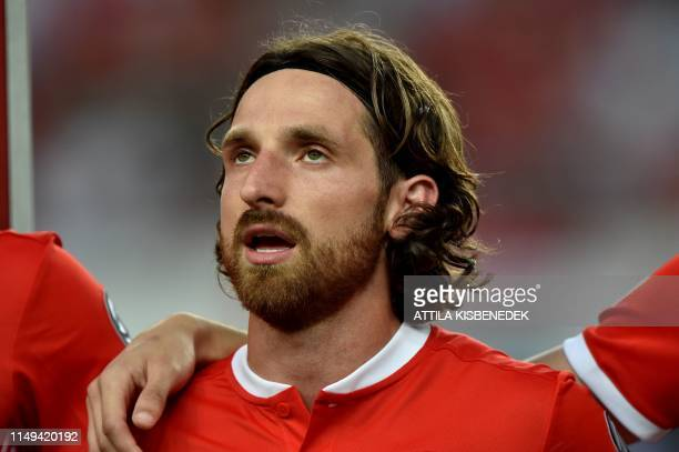 Wales' midfielder Joe Allen is pictured prior to the UEFA Euro 2020 qualifier Group E football match Hungary against Wales on June 11 2019 in Budapest