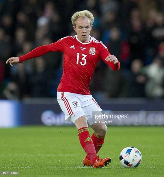 Wales' midfielder Jonathan Williams passes the ball during the international friendly football match between Wales and Netherlands at Cardiff City...