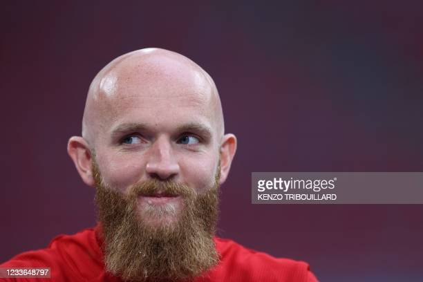Wales' midfielder Jonathan Williams takes part in an MD-1 training session at the Johan Cruyff Arena in Amsterdam on June 25 on the eve of their UEFA...