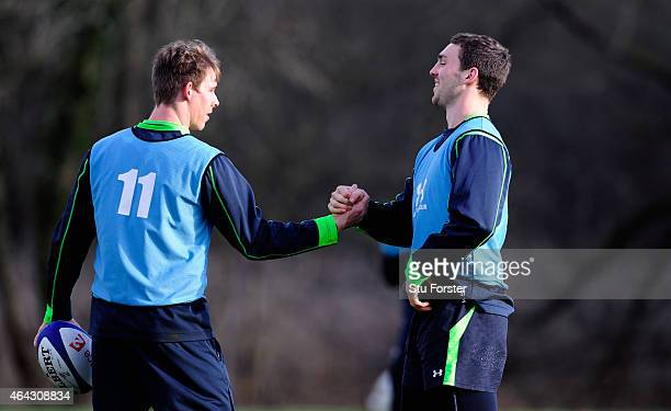 Wales new wing partnership of Liam Williams and George North share a joke during training ahead of their match on saturday in the RBS Six nations...