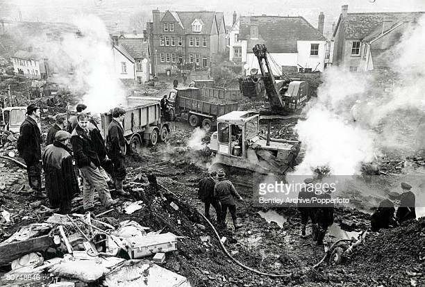 Wales October 1966 Scenes of the Aberfan disaster where 200 schoolchildren died when a coal tip slid down the mountain and engulfed their school