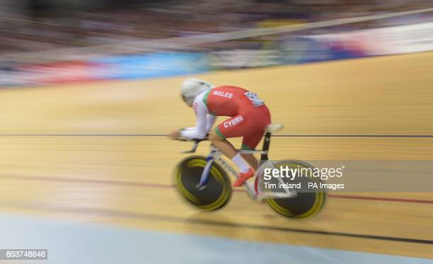 Wales' Owain Doull rides in the 4000m time trial qualifying at the Sir Chris Hoy Velodrome during the 2014 Commonwealth Games in Glasgow