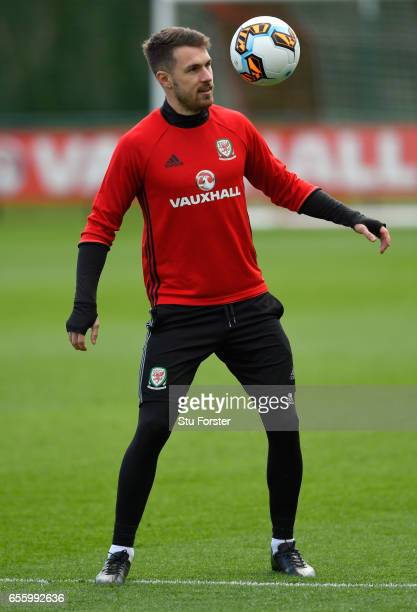 Wales player Aaron Ramsey in action during a Wales Open Training session ahead of their World Cup Qualifier against the Republic of Ireland at the...