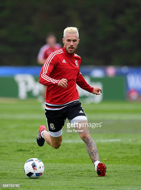 Wales player Aaron Ramsey in action during an open Euro 2016 Wales training session at the Wales training base on June 8 2016 in Dinard France