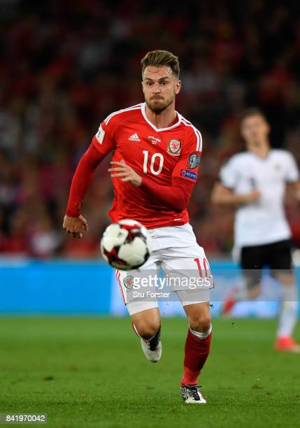 Wales player Aaron Ramsey in action during the FIFA 2018 World Cup Qualifier between Wales and Austria at Cardiff City Stadium on September 2 2017 in...