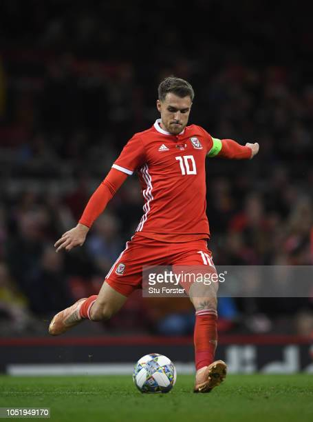 Wales player Aaron Ramsey in action during the International Friendly match between Wales and Spain on October 11 2018 in Cardiff United Kingdom