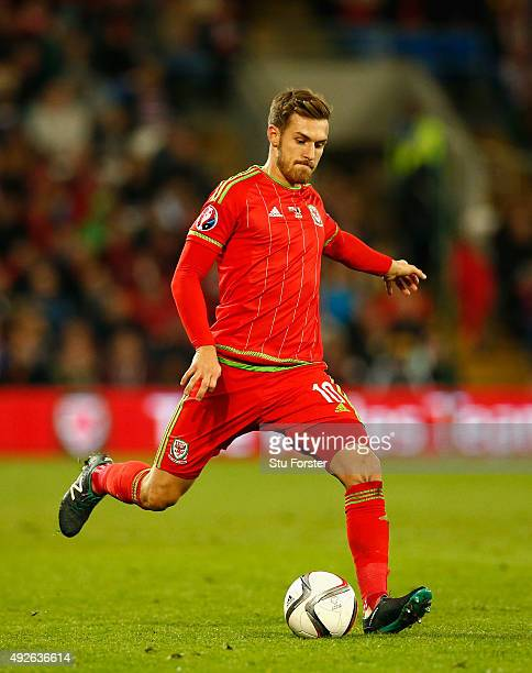 Wales player Aaron Ramsey in action during the UEFA EURO 2016 Group B Qualifier between Wales and Andorra at Cardiff City stadium on October 13 2015...