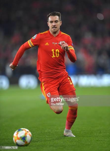 Wales player Aaron Ramsey in action during the UEFA Euro 2020 qualifier between Wales and Hungary at Cardiff City Stadium on November 19, 2019 in...
