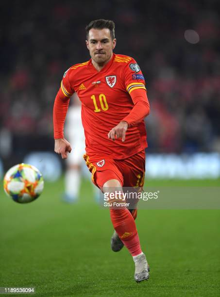 Wales player Aaron Ramsey in action during the UEFA Euro 2020 qualifier between Wales and Hungary at Cardiff City Stadium on November 19 2019 in...