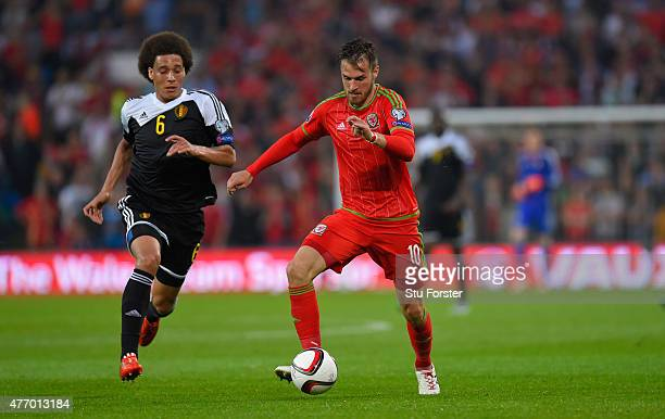 Wales player Aaron Ramsey in action during the UEFA EURO Group B 2016 Qualifier between Wales and Belguim at Cardiff City stadium on June 12 2015 in...