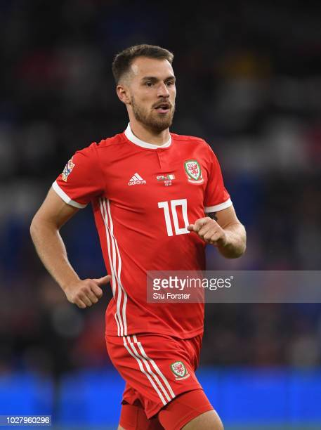 Wales player Aaron Ramsey in action during the UEFA Nations League B group four match between Wales and Republic of Ireland at Cardiff City Stadium...