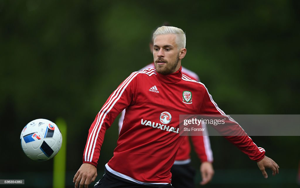 Wales player Aaron Ramsey in action during Wales training at the Vale hotel complex on June 1, 2016 in Cardiff, Wales.