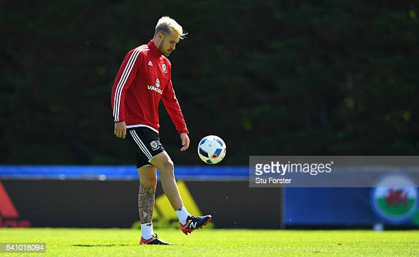 Wales player Aaron Ramsey in action during Wales training at their Euro 2016 basecamp on June 18 2016 in Dinard France