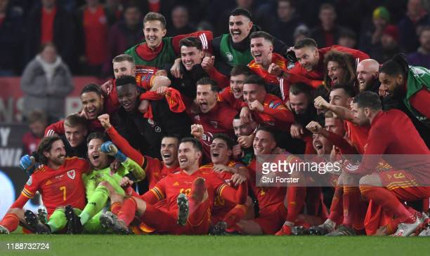 Wales player Aaron Ramsey joins in the celebrations with Gareth Bale and his team mates after the UEFA Euro 2020 qualifier between Wales and Hungary...