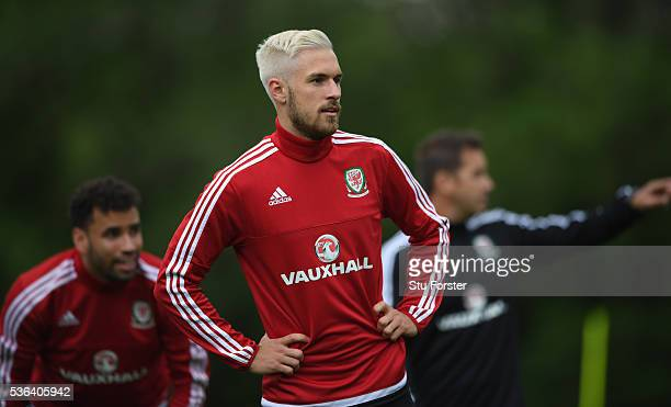 Wales player Aaron Ramsey looks on during Wales training at the Vale hotel complex on June 1 2016 in Cardiff Wales