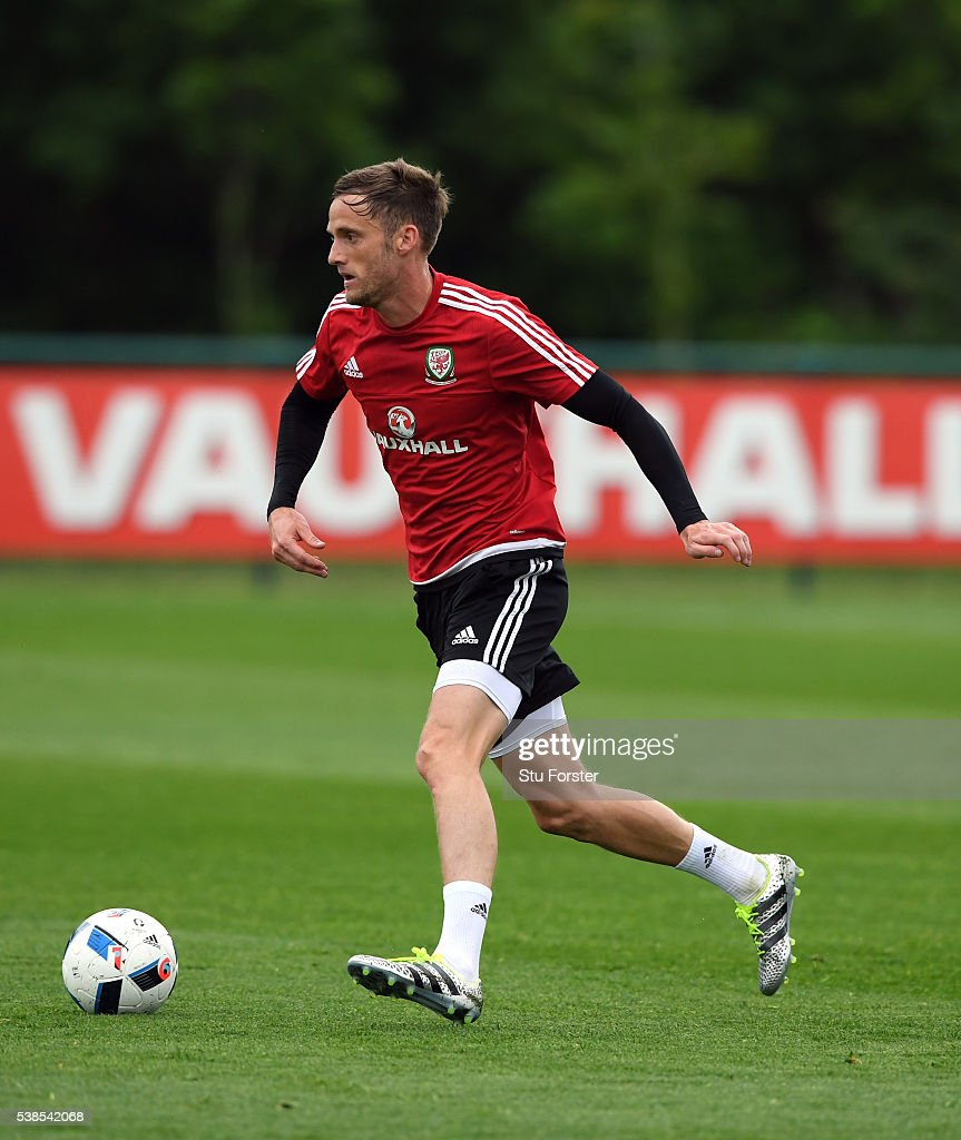 Wales player Andy King in action during Wales training at the Vale hotel complex on June 1, 2016 in Cardiff, Wales.