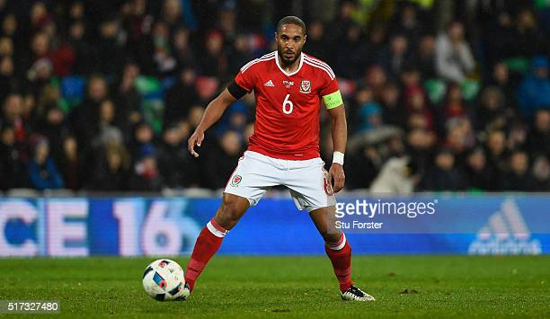 Wales player Ashley Williams in action during the International friendly match between Wales and Northern Ireland at Cardiff City Stadium on March 24...