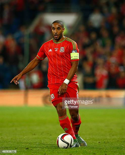 Wales player Ashley Williams in action during the UEFA EURO 2016 Group B Qualifier between Wales and Andorra at Cardiff City stadium on October 13...