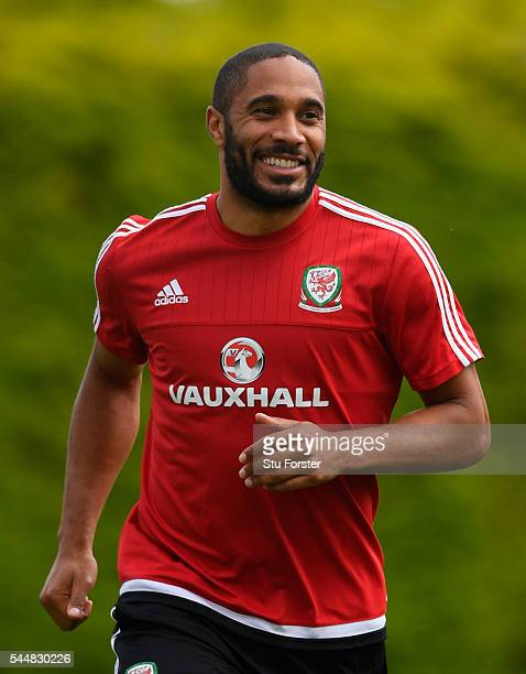 Wales player Ashley Williams in action during Wales training ahead of their UEFA Euro 2016 semi final against Portugal at College Le Bocage on July 4...