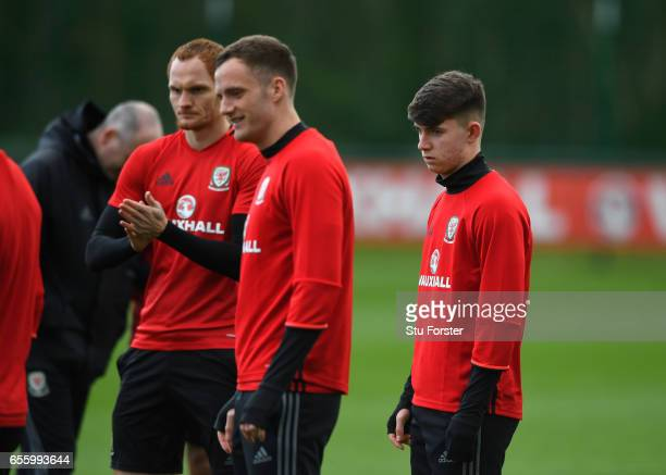 Wales player Ben Woodburn looks on during a Wales Open Training session ahead of their World Cup Qualifier against the Republic of Ireland at the...